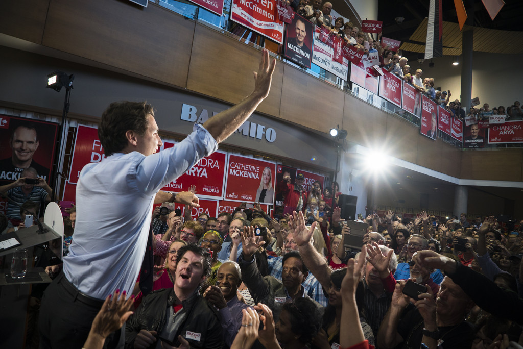 Justin Trudeau attends a Liberal rally at the Shenkman Arts Centre in Orleans, Ontario. September 21st 2014. Captis Photos/Connor Evans